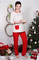 Пижама для беременных и кормящих мам Sugar light сердечки+красный