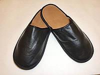 Тапочки кожаные мужские чёрные