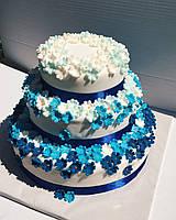 Торт Голубые цветы