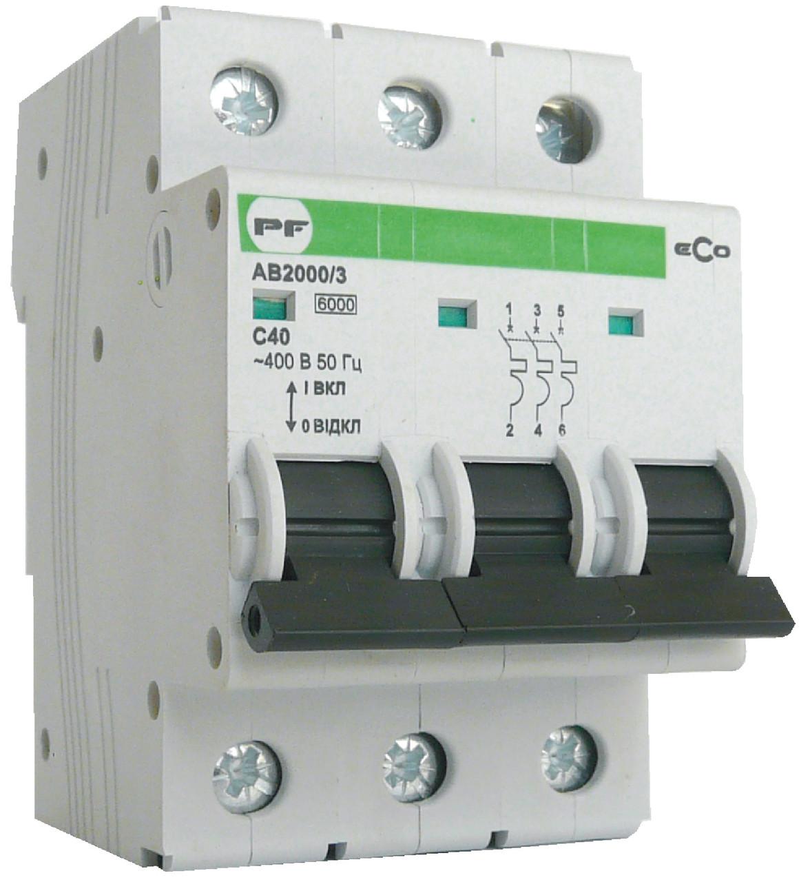 Автоматический выключатель ECO AB2000 3р 6А 6кА