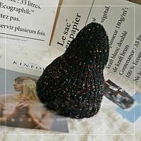 Женская вязаная шапка Rainbow черная, фото 1