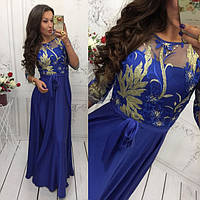 Платье женское длинное из шелка с кружевом P4740