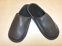 Тапочки кожаные мужские серые