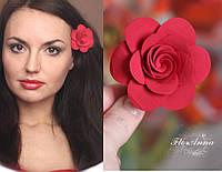 """Красивая заколка """"Красная роза"""". Украшения ручной работы"""