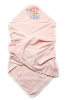 Детское полотенце для купания с капюшоном Розовое