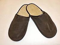 Тапочки кожаные мужские коричневые