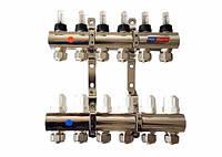 Коллектор для теплого пола POL-therm POL02 - POL012 Коллектор на 9 контуров с расходомерами