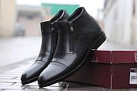 Мужские туфли черные/ туфли мужские  зимние, натуральная кожа, искусственный мех, стильные