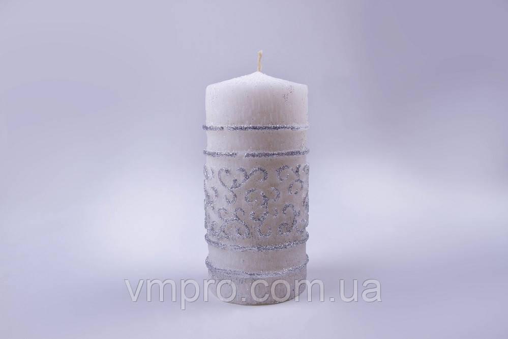 Свечи большие серебро 67×135 мм, 18 часов