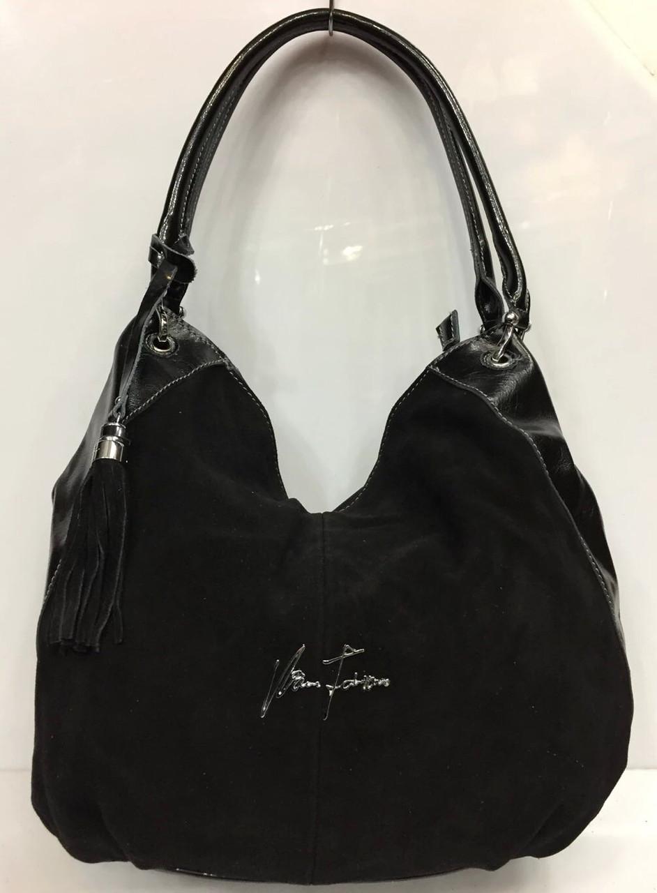 Сумка -мешок кожаная черная Velina Fabbiano