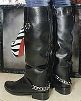 Сапоги кожаные высокие (цепь) на узкий объем