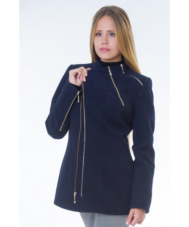 Пальто модель № 5 змейка синее (весна/осень), р.42-44, Распродажа!