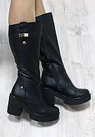 Зимние натуральные кожаные сапоги с молнией по всей длине на удобном каблуке