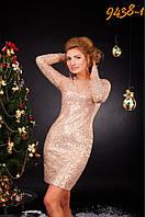 Яркое вечернее платье на Новый Год приталенного силуэта, из пайеточной ткани (разные цвета)