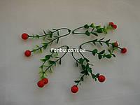 Мини-ветка ягод клюква, двойная, h-10 см (1 упаковка- 5 шт)