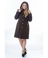 Пальто женское модель №9 капюшон шоколадное (весна/осень), р.46-52