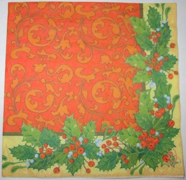 Салфетка Новый Год / Узоры, ягоды