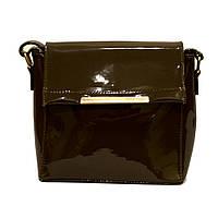 Модная женская лаковая сумка клатч хаки