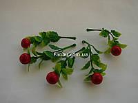 Мини-ветка ягод крупная клюква, h-8,5 см (1 упаковка- 5 шт)
