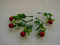 Мини-ветка ягод крупная клюква, h-8,5 см (1 упаковка- 5 шт), фото 1