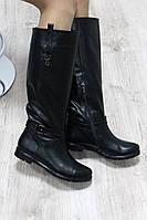 Зимние натуральные кожаные сапоги черные с широкой голенью