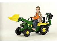 Педальный трактор экскаватор с ковшом Rolly Toys John Deere rolly Junior зеленый