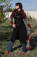 Трикотажное длинное пальто (дизайнерский трикотаж)