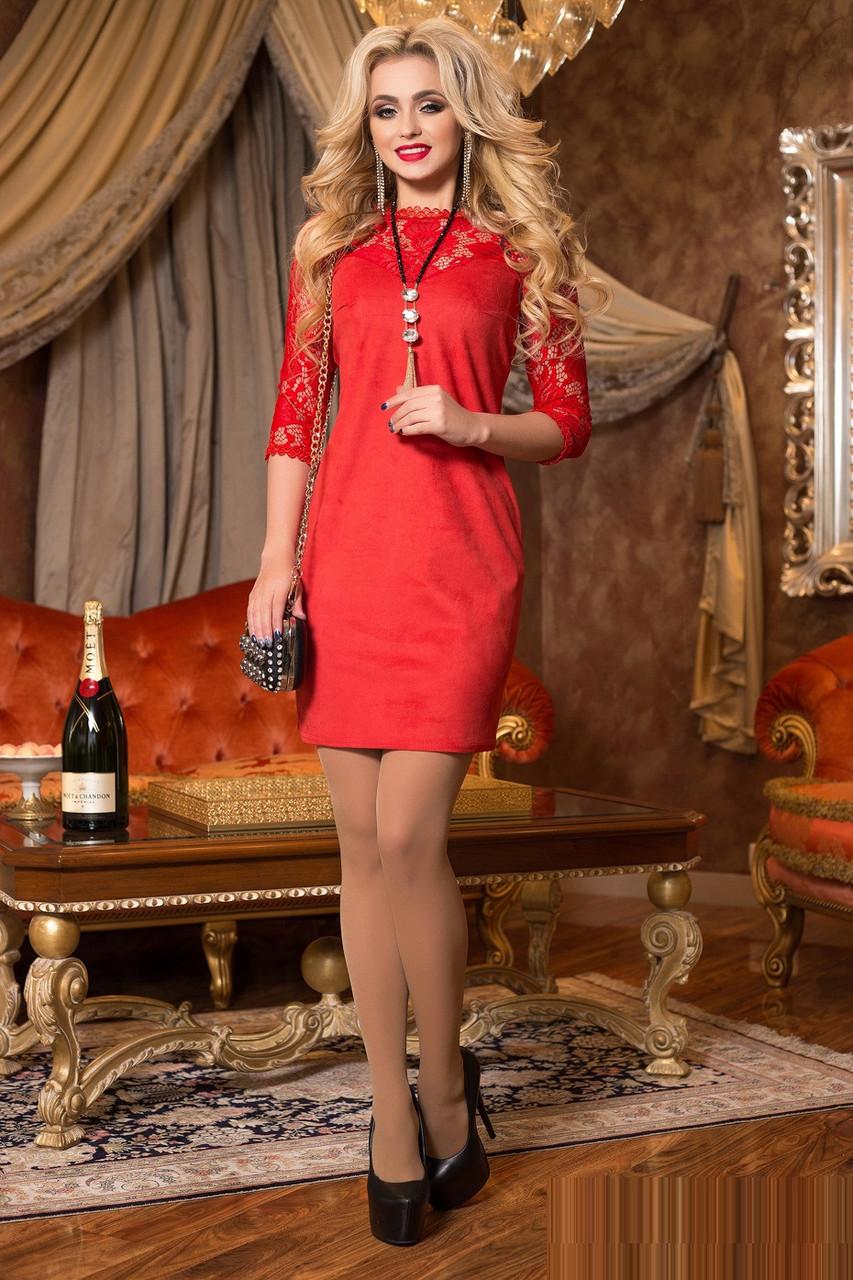 7bc1f5162d23ef8 Красное вечернее платье с кружевом 1985 44–50р. - Интернет–магазин «Nona