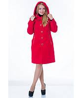 Пальто женское модель №9 капюшон красное (весна/осень), р.46-52