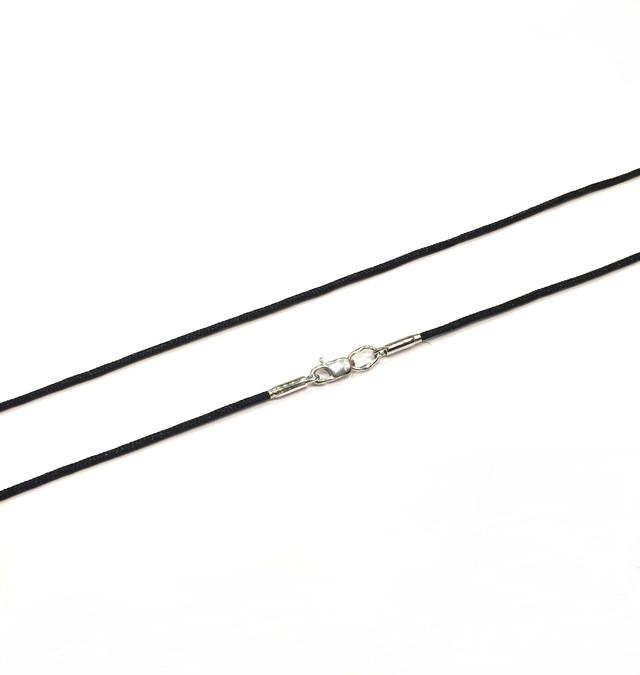 Черный шнурок на шею с серебряной застежкой