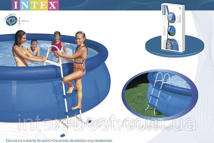 Лестница для надувных и каркасных бассейнов высотой 91см Intex 58972, фото 2