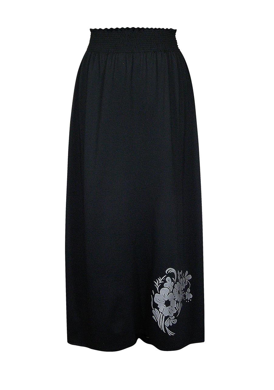 Прямая трикотажная юбка Букет
