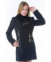 Пальто женское модель №7 3 змейки+3 кнопки черное (весна/осень), р.40-48