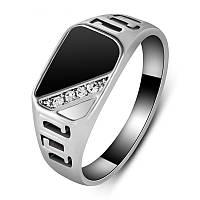 Перстень печатка узкая диагональ фианиты покрытие платиной 18К