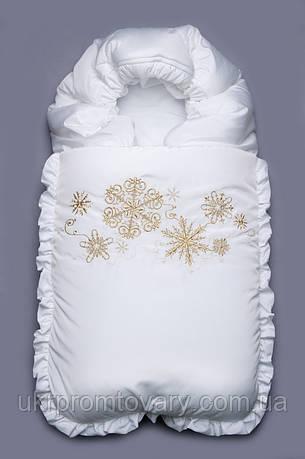 """Конверт на выписку зимний белый """"Снежинки"""", фото 2"""