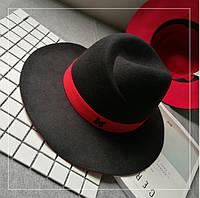 Шляпа женская фетровая Федора в стиле Maison Michel черная + красная