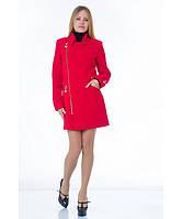 Пальто женское модель №7 3 змейки+3 кнопки красное (весна/осень), р.40-48