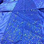 Электрик синий пайетка вышитая на сетке куски 30см*75см есть 10 кусков 65грн за кусок, фото 3