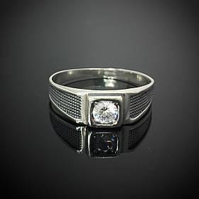 Серебряная мужская печатка с фианитом, 2,9 грамма