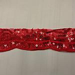 Кружево красное с пайеткой и фистонами красное 50 грн шир 3,5 см, фото 3
