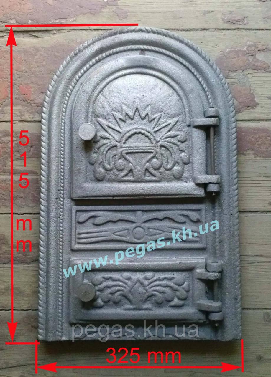 Дверка чугунная печная, печи, грубу, барбекю, мангал (325х515 мм)