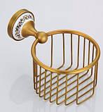 Настенный (подвесной) держатель для туалетной бумаги бронза, фото 3