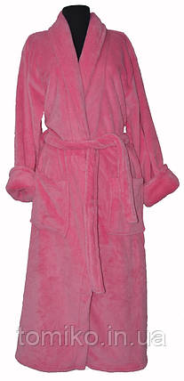 Халат Длинный Махровый однотонный Без Капюшона цвет розовый, фото 2