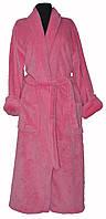 Халат Длинный Махровый однотонный Без Капюшона цвет розовый, фото 1