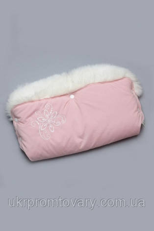 Муфта для коляски розовая с опушкой, фото 2