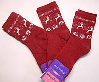 Носки с оленями теплые женские бордового цвета