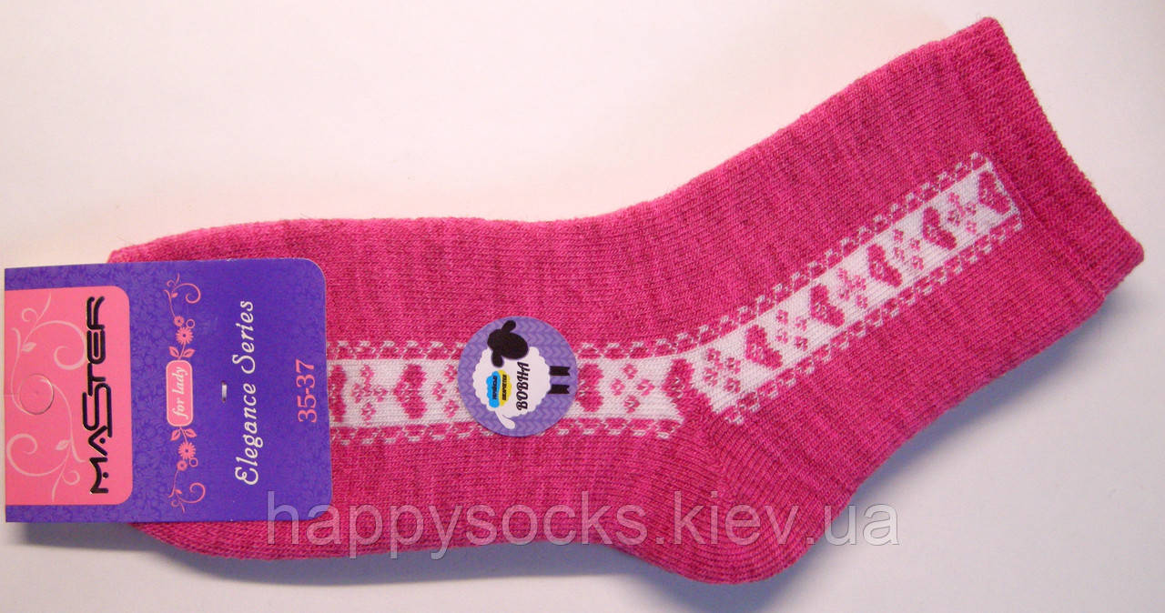 Теплые носки женские малинового цвета полушерстяные