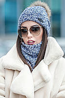 Комплет шапка біні + шарф стойка № 180, світло синій