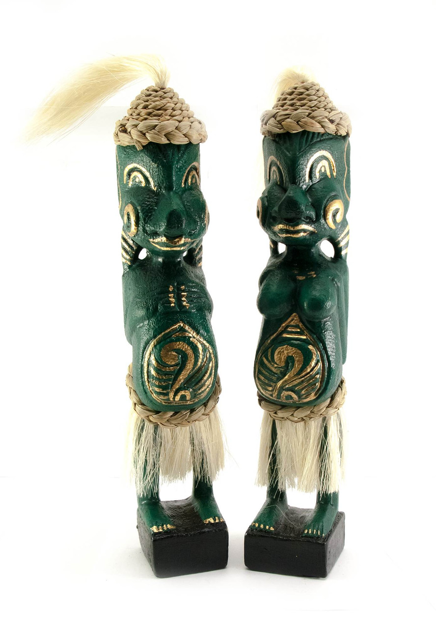 Папуасы пара резные дерево зеленые (34х6х5 см)