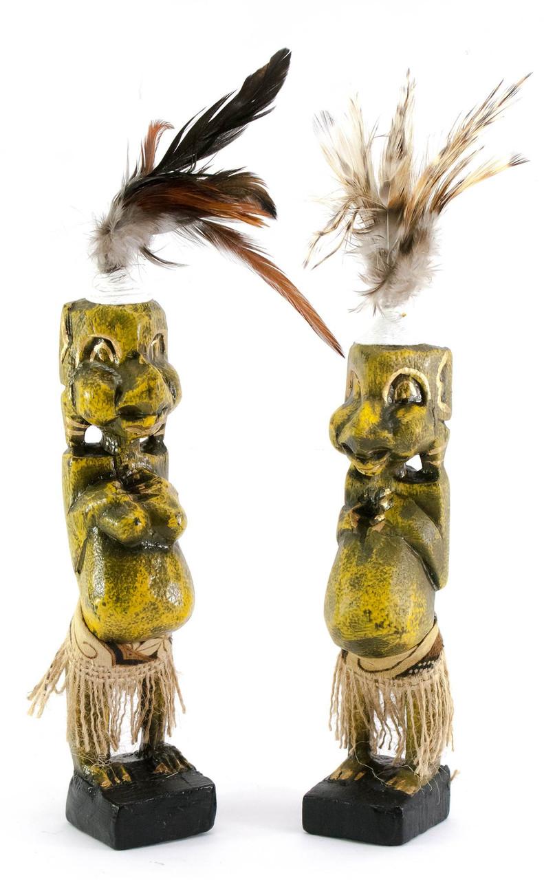 Папуасы пара резные дерево золотые (20,5х4х4 см)